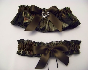 Mossy Oak Camo Bridal Bride Garter SET PLUS SIZE Camouflage Wedding All accessories