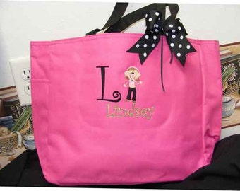 Jazz Dance dancer Personalized Tote Bag Pink all colors Ribbon Top Bow Preppy Monogram