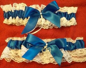 Royal Blue Garter SET   Wedding Bridal Garter Bride's Garter Belt Soft and Comfortable