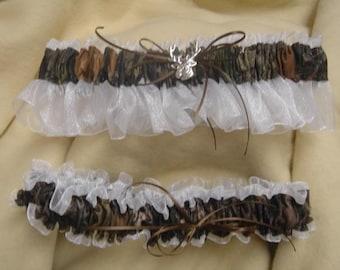 Mossy Oak Break up White sheer bridal garter set Black, Pink, Brown, ivory,  blue any color sheer Wedding
