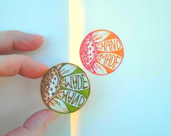 Cool Round Flower 'Hand Made' Rubber Stamp, Hand Carved, New Hang Tag, Jazz up the Purchase Let Your Customers Know It is Hand Made