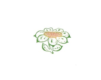 Cool Summer Flower Rubber Stamp, Large Focal Point Flower , Wood Cut Look Folk Art Style Flower, Bright Summer Flower For Your Note Cards