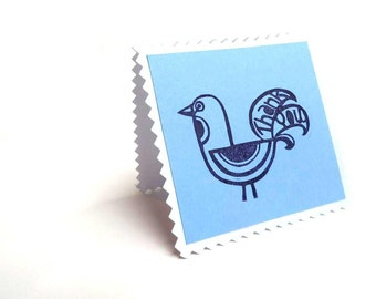 Quick 'Thank you' Rubber Stamp, Scandinavian Mod Rubber Stamp Logo, Unique Way to Say I Made It, Scandinavian Bird Hang Tag Rubber Stamp