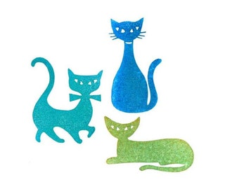 Rubber Stamp Cats Set, Mid Century, Three Hand Carved Purrrfect Little Pieces of Art, Rubber Stamp Cats, Cat Collectors, Animal Lovers