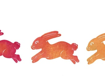 Running Bunny Folk Art Rubber Stamp, Hand Carved Running Rabbit, Rubber Stamp Art, Easter Rabbit, Chocolate Rabbit, Chocolate Bunny