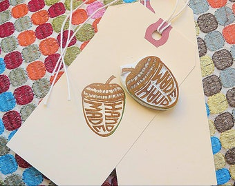Rubber Stamp, Say 'Hand Made' Fast With Woodsy Acorn Stamp , Hang Tag, Jazz up the Purchase Tell Customers It is Hand Made