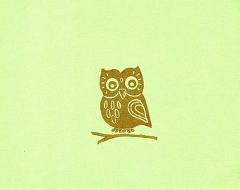 Friendly Owl Rubber Stamp with Branch Set, Hand Carved Rubber Stamp Folk Art Owl, Cute Friendly Owl, For Baby Shower, Woodland Weddings