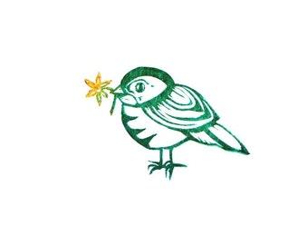 Spring Bird Folk Art Rubber Stamp With Flower, Hand Carved Bird With Flower, Rubber Stamp Art, Spring Bird stamp, Easter Card Stamp