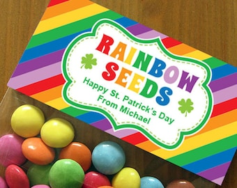 Personalized St. Patricks's Day Treat Bag Toppers – DIY Printable – Rainbow Seeds (Digital File)