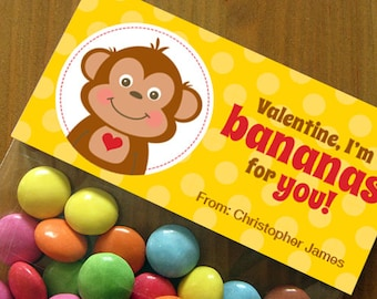 Personalized Valentine's Day Treat Bag Toppers – DIY Printable – Monkey Boy (Digital File)