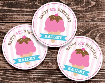 Personalized Ice Cream Party Tags or Stickers – 2, 2.5 or 3 Inch Circle – DIY Printable - Pink  (Digital File)