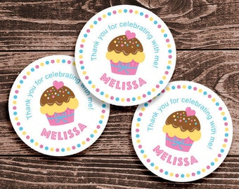 Personalized Cupcake Party Thank You Favor Tags or Stickers – 2, 2.5 or 3 Inch Circle – DIY Printable (Digital File)