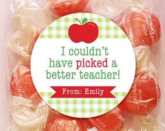 Personalized Teacher Appreciation Gift Tags or Stickers – 2, 2.5 or 3 Inch Circle – DIY Printable – Red Apple (Digital File)