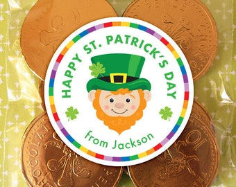 Personalized St. Patrick's Day Gift Tags or Stickers – 2, 2.5 or 3 Inch Circle – DIY Printable – Leprechaun Head  (Digital File)