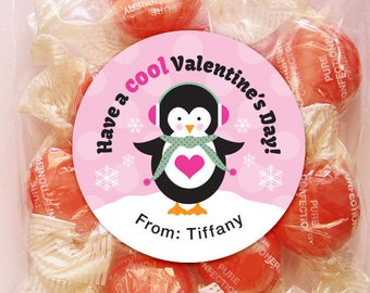 Personalized Valentine Gift Tags or Stickers – 2, 2.5 or 3 Inch Circle – DIY Printable – Penguin Pink  (Digital File)