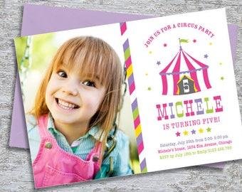 Circus Party Invitation Photo –  DIY Printable Personalized – Big Top Pink (Digital File)