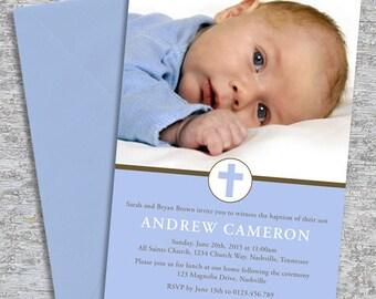 Baptism or Christening Invitation –  Photo Printable Personalized – Little Cross Boy (Digital File)