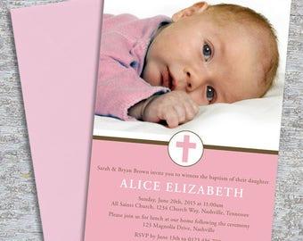 Baptism or Christening Invitation – Photo Printable Personalized –Little Cross Girl (Digital File)