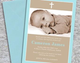 Baptism or Christening Invitation Photo – DIY Printable Personalized – Simple Border Boy (Digital File)