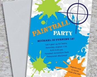 Paintball Party Invitation – DIY Printable Personalized (Digital File)