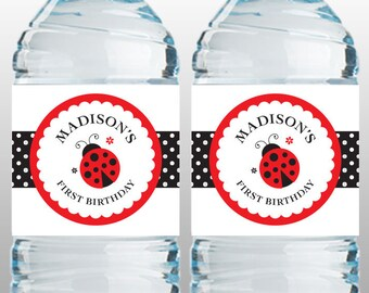 Personalized Ladybug Party Water Bottle Labels – DIY Printable (Digital File)