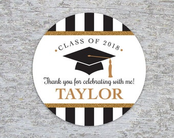 Personalized Graduation Party Favor Tags or Stickers – 2, 2.5 or 3 Inch Circle – DIY Printable – Classic Cap (Digital File)