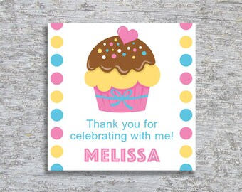Personalized Cupcake Party Favor Tags or Stickers – DIY Printable (Digital File)