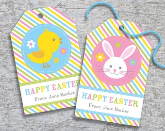 Personalized Easter Gift Tags – DIY Printable – Hang Tags – Easter Bunny and Chick (Digital File)