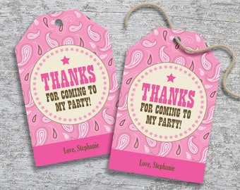 Personalized Cowgirl Party Favor Tags – DIY Printable – Hang Tags (Digital File)