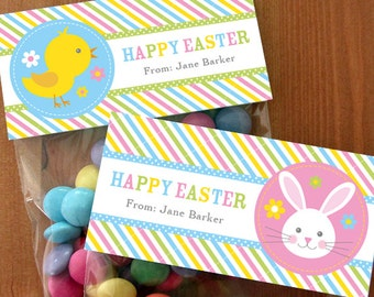 Personalized Easter Treat Bag Toppers – DIY Printable – Easter Bunny and Chick (Digital File)
