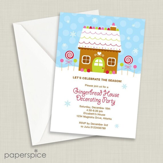 Gingerbread House Decorating Party Invitation Diy Printable Etsy
