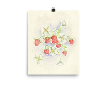 strawberry watercolor prints, watercolor painting, strawberry art, wall art, art prints, printful, home decor