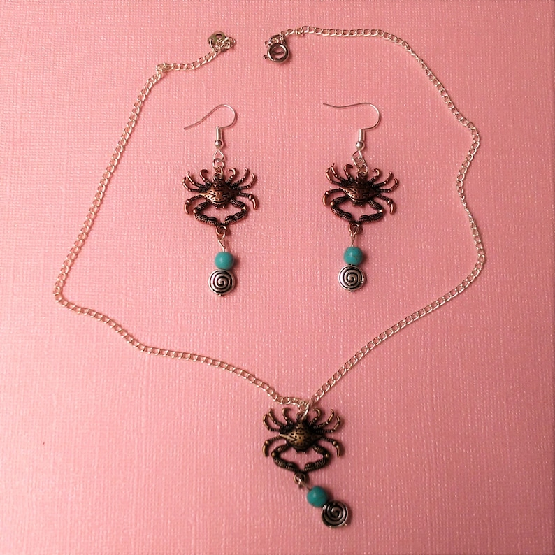 crabs beach jewelry handmade turquoise fashion cute necklace set ocean beachy nautical earrings crab accessories marine life