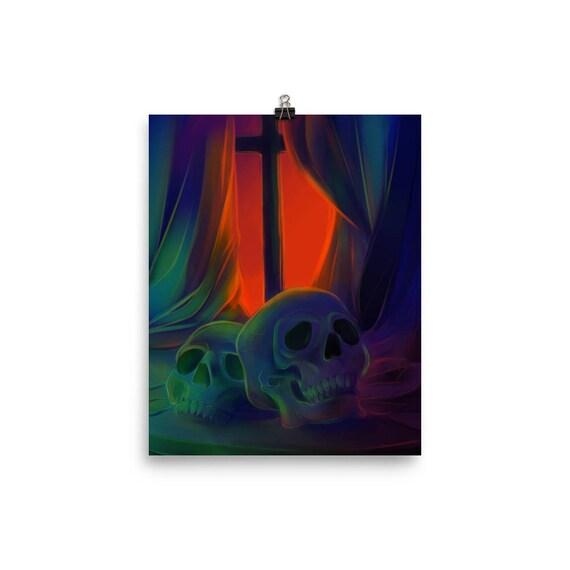glow skullz prints dark art skull art home decor wall art | Etsy