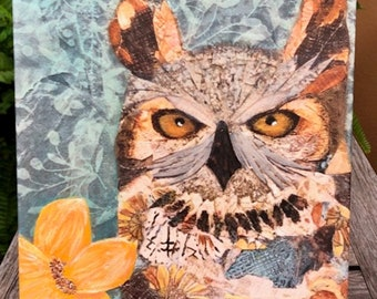 ON SALE!!!! Meet 'Hoot' a mixed media canvas ready to hang on your wall!!