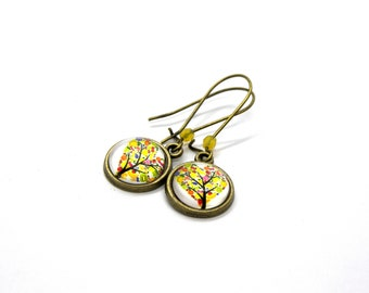 Fruit Tree of Life Cabochon 12MM Earrings , gift for her