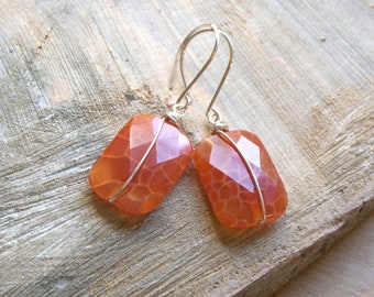 Red Fire Crackle Agate Earrings in Sterling Silver
