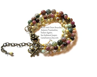 Tourmaline, Indian Agate, Sea Sediment Jasper Multi link Bracelet