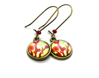 Cactus Flower Cabochon 12 mm Earrings , gift for her