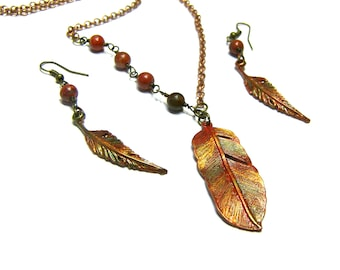 Feather Pendant Earrings Set On Sale