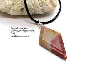 """Oregon Picture Jasper Faceted Diamond Briolette Pendant 18"""" Cotton Necklace"""