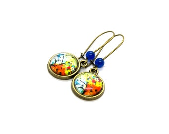 Tree of Life Autumn 12MM Cabochon Earrings