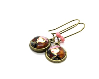 French Woman in Pink Beret 12MM Cabochon Earrings
