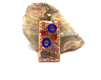 Pink Floral Polymer Clay Pendant with Leaves