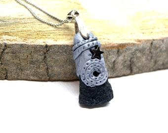 Tektite Meteorite Stone Clay Hematite Pendant