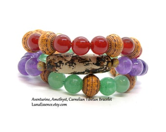 Dzi Tibetan Agate Beaded Bracelet, Aventurine, Amethyst, Carnelian bead bracelet