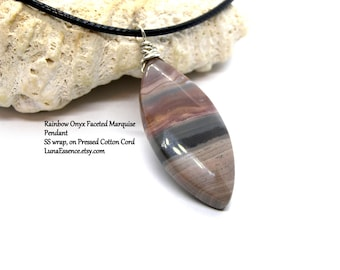 """Rainbow Onyx Faceted Marquise Pendant 18"""" Necklace"""