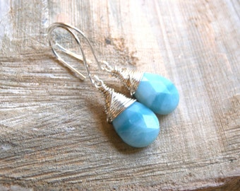 Blue Amazonite Faceted Briolette Sterling Silver wrap Earrings