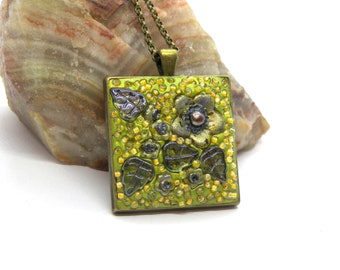 Green, Yellow Floral Polymer Clay Mosaic Pendant
