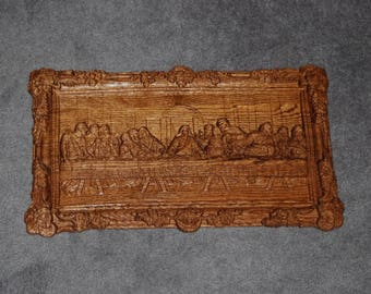 Christian hand carved olive wood last supper wall plaque from